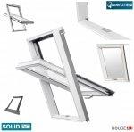 Dachfenster RoofLITE+ SOLID PVC APY B900 Schwingfenster Kunststoff-fenster PVC Profile in Weiß, Wohndachfenster THERMO Uw= 1,3 mit 2-fach Verglasung mit Untenbedienung (Boden-Griff) RAL 7043