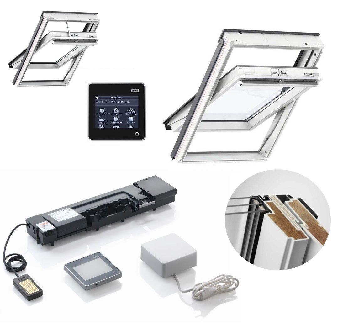 Automatische dachfenster velux glu 0061 aus kunststoff 3 fach verglasung uw 1 1 integra kmx - Dachfenster 3 fach verglasung ...
