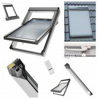 Dachfenster 55x98 cm Schwingfenster mit Solar-Außenrolllade<br />n ARZS / 2-fach / Kunstoffenster PVC Profile in Weiß incl. Eindeckrahmen