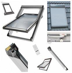 Dachfenster 55x98 cm Schwingfenster mit Solar-Außenrollladen ARZS / 2-fach / Kunstoffenster PVC Profile in Weiß incl. Eindeckrahmen