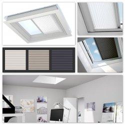 Elektro-Plissee Velux FMG für Flachdach-Fenster Plissee, elektrisch, 1016 weiß, 1259 sand,1265 metallic-blau, inkl. Funk-Wandschalter