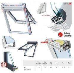 Dachfenster Keylite Polar PTH PFE HT HI-Therm Klapp-Schwingfenster aus PVC Kunststoff mit Wärmedämmblock Weiß 2-fach-Verglasung Uw= 1,1 THERMO Standard - Verglasung _ _70, Bad-Dachfenster, Verbundsicherheitsglas, ESG außen, VSG innen, Aluminium