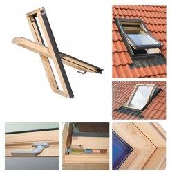 Dachfenster 66x98 Holz-Fenster Oman SELECT EN Uv =1,3 W/m² Oman Schwingfenster klar lackiert incl. Eindeckrahmen