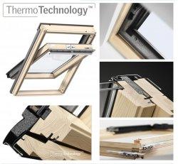 OUTLET: VELUX Dachfenster GZL 1051 MK08 78x140 aus Holz Schwingfenster Uw= 1,3 Thermo 2-Fach-Veglasung Holz klar lackiert VELUX ThermoTechnology™ Neue Generation Versand 48H