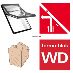 Dachfenster Roto Designo R75 H WD 07/14 78x140 Uw= 1,3 Hoch-Schwingfenster aus Holz blueLine mit Wärmedämmblock