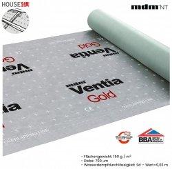 Dampfsperbahn MDM® Ventia Gold Dreischichtig mit einem Gewicht von ca. 150 g / m² und einer Dicke von 700 µm.