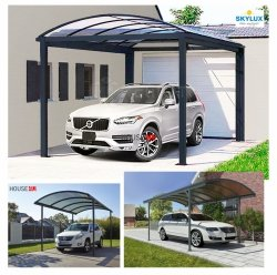 ClimaCar Carport  Struktur, tabiler, freistehender SKYLUX Carport 3mx7m H:2,48m mit Bogendach Nur 4 Stützpfosten, Grau 7016