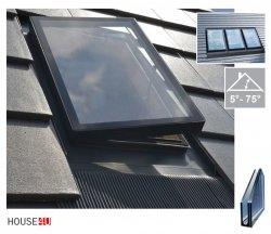 Ausstiegsfenster WVR V8 47x73 cm für unbeheizte Räume, nach seitlich öffnend (links oder rechts), Dreifachverglasung P2, VSG innen, mit integrated EPDM RESET Eindeckrahmen, Öffnungsgriff 3-Positionen, Kombi-Option, 5°- 75°