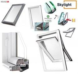 Dachfenster DOBROPLAST SKYLIGHT 114x140 TERMO PREMIUM ACTIVE Schwingfenster Kunststoff - Profil PVC Weiß Uw= 1,3 , 7043 RAL, Boden-Griff, 2-fach Verglasung als THERMO _ _70, ESG außen, VSG innen, Pilkington Activ™ selbstreinigendes Glas