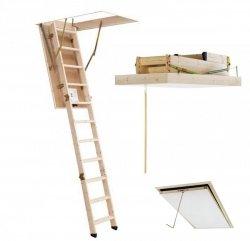 OUTLET: Bodentreppe DOLLE Euroiso 60x120 aus Holz U=1,6 weiße Öffnungsklappe Holzbodentreppe Dachbodentreppe