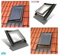 Ausstiegsfenster BALIO FE 45x73 - 45x55 cm für ungeheizte Räume, nach oben oder seitlich öffnend, BALIO gehört zum VKR Konzern wie ( VELUX , ROOFLITE ), mit integrated Eindeckrahmen, Skylight, Dachausstiegsfenster, Kaltraumfenster, Dachausstieg, Dachluke