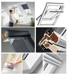OUTLET: VELUX Dachfenster GLU 0051 MK04 78x98 Uw= 1,3 Schwingfenster Kunststoffqualität mit Dauerlüftung + Eindeckrahmen EDZ