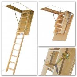 Bodentreppe FAKRO LWS SMART Mehrteilige Bodentreppe aus Kiefernholz U=1,1 W/m²K
