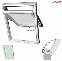 Dakea Dachfenster Better View KHV B1010 (Bessere Sicht) Hoch-Schwingfenster Weiß lackiert, Uw=1,3 2-Fach mit Dauerlüftung, Untere-Griff, Verbundsicherheitsglas, VSG - Inneschiben laminiert