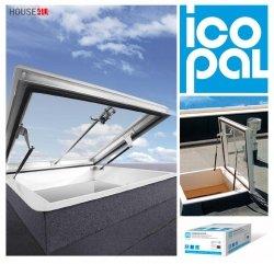 Flachdach-Ausstiegsfenster Icopal Kominarczyk 80x80 x20cm Manuell betätigt - zweischichtig =2,6 W/m2K Dachluke Dachfläche 48H
