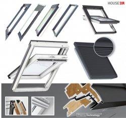 Dachfenster-Set Velux GLU 0061 3-fach-Verglasung Uw= 1,1 Schwingfenster Kunststoffdachfenster Außenrollladen Solar-Rollladen  SSL 0000, EDZ 2000 Eindeckrahmen mit BDX 2000 Thermische Isolationsset ThermoTechnology