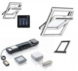 Schwingfenster-Set Velux Schwingfenster GLU 0051 aus Kunstoff, Eindeckrahmen EDZ 0000, KMX Elektro-Nachrüst-Set INTEGRA®