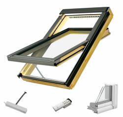 Dachfenster Fakro FTP-V Z-Wave U3 Schwingfenster aus Holz