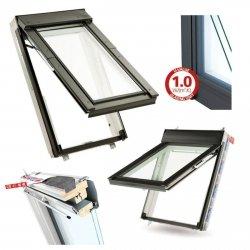Dachfenster Keylite Polar Klapp-Schwingfenster FT FE Thermal Uw=1,3 weiß Holz 2-Fach Verglasung Fluchtwegsfenster 0 – 45 ̊ offen,