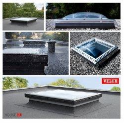 VELUX Flachdachfenter Festverglastes Basis-Element CFP 0073U, *U=0,87 W/m²K * Tageslicht für flache Dächer, PVC-Rahmen, P2A-Verbundsicherheitsglas ausgestattet