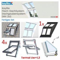 Keylite Flach-DachSystem Dachgaubensystem DRX 2x2, Fertiges Set: 4 x Polar PVC PCP Termal Schwingfenster + Basiselement, Holzgehäuse Dachgabensystem. Kombi-Eindeckrahmen, Dachgauben-Paket: Montagerahmen, Eindeckrahmen und Hilfssparren