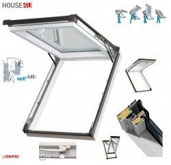 OUTLET: Dachfenster Kipp-Schiebefenster Okpol IGKV IGK E2 94x140 PVC Profile in Weiß - Öffnungswinkel bis 62° - Uw= 1,2 W/m²K / Ausstiegsfenster Versand 48H