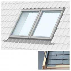 Doppelte Eindeckrahmen Velux EBL um Einbau von Fenstern mit einem Abstand von 18 mm Für flache Abdeckmaterialien bis 16 mm (2x8 mm) für bituminöse Schindeln, Dachpappe