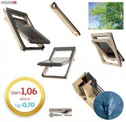 Dachfenster Okpol ISO I6 Schwingfenster Energiesparende ENERGIE 3-fach Verglasung Uw=1,0  Holz klar lackiert, Anti-Kondensat-Glas, Anti-Tau-Effekt