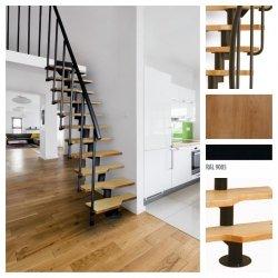 Treppen Atrium Mini Schwarz 11 Stufen Natürliche Erle modular Systemtreppen