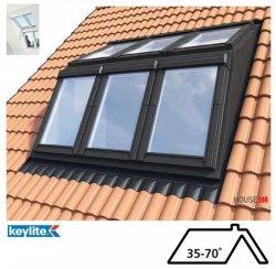 Keylite Flach-DachSystem, Dachgaubensystem DRX, 2x3, Lichtlösung -Basiselement, Holzgehäuse Dachgabensystem. Kombi-Eindeckrahmen,  Dachgauben-Paket: Montagerahmen, Eindeckrahmen und Hilfssparren