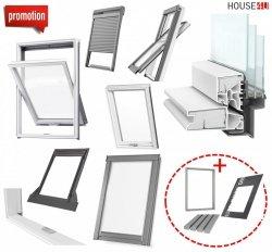 Werbeset RoofLITE TRIO PVC APY + TFX + SSR  Gratis: RUC + IFC 3-fach Dachfenster Schwingfenster aus Kunstoff mit Eindeckrahmen, Solar-Außenrollladen und GRATIS ISOLATION-SET IFC + RUC