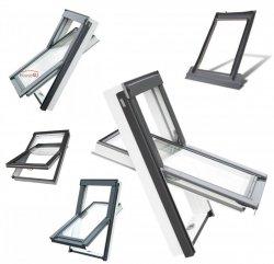 OUTLET: Dachfenster OPTILIGHT TLP 114x118 11/11  Kunststofffenster Schwingfenster Wohndachfenster THERMO mit 2-fach Verglasung Uw=1,3 W/m²K. PVC Profile in Weiß PVC mit Untenbedienung