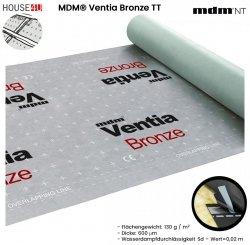 Dampfsperbahn MDM® Ventia Bronze TT Dreischichtig mit einem Gewicht von ca. 130 g / m² und einer Dicke von 600 µm. Mit integriertem Kleberstreifen auf beiden Kanten – Version TT