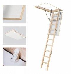 OUTLET: Bodentreppe Optistep OLB 70x120 aus Holz U=1,54 weiße Öffnungsklappe