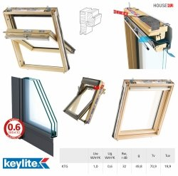 Dachfenster Keylite TCP KTG Uw=1,0 Schwingfenster aus Holz 3-fach-Verglasung Krypton Triple Glass - KTG 3-Fach Verglasung,