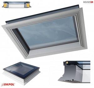 OUTLET: Flachdach-Fenster OKPOL PGX A1 90x120 PVC Festverglastes Uw=1,1 W/m²K/ Flachverglasung , Innenscheibe aus Verbundglas, Tageslicht für flache Dächer ohne kuppel