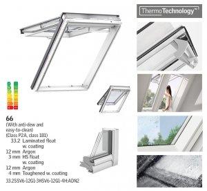 VELUX Dachfenster GPU 0066 ENERGY PLUS Klapp-Schwingfenster ENERGY STAR Kunststoff-Fenster mit Riesen-Öffnungswink<br />el