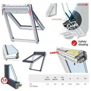 Dachfenster Keylite Polar PTH PFE HT HI-Therm Klapp-Schwingfenster aus PVC Kunststoff mit Wärmedämmblock Weiß 2-fach-Verglasung Uw= 1,1 THERMO Standard - Verglasung _ _70, Bad-Dachfenster, Verbundsicherheitsgl<br />as, ESG außen, VSG innen, Aluminium