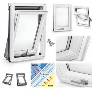 Dachfenster Schwingfenster KEYLITE BW Weiß KTG 3-fach-Verglasung Uw=1,1 Dachfenster aus Holz: Weiss lackiert, lackiert polyurethan weiß farbe / untere Griff
