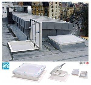 Flachdach-Ausstiegsf<br />enster Icopal Kominarczyk 80x80 x20cm / 100x100 x30cm / Manuell betätigt - zweischichtig =2,6 W/m2K Dachluke Dachfläche