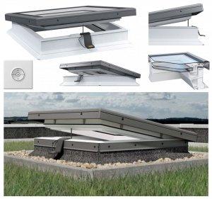 ROOFLITE Elektrisches Flachdach-Fenster ROOFLITE FRE B600 Flachglassegment mit Regensensor, Weiß PVC-Rahmen, ohne kuppel, Verbundglas, Qualitätsproduktion der VKR-Gruppe, 2°-15°, W Urc =0.87, RAL 7043, VELUX io-homecontrol® Kompatibilität, inkl.Funk-Wand