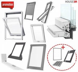 Werbeset RoofLITE TRIO PVC APY + TFX + SSR Gratis: RUC + IFC 3-fach Dachfenster Schwingfenster aus Kunstoff mit Eindeckrahmen, Solar-Außenrolllade<br />n und GRATIS ISOLATION-SET IFC + RUC