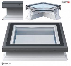 ROOFLITE Flachdach-Fenster FRF B600, W Urc =0.87, Festelement mit Flachglas Segment, Weiß PVC-Rahmen, ohne kuppel, Verbundglas, Qualitätsproduktion der VKR-Gruppe wie VELUX, Fur Dachneigungen 2°-15° Grad, RAL 7043