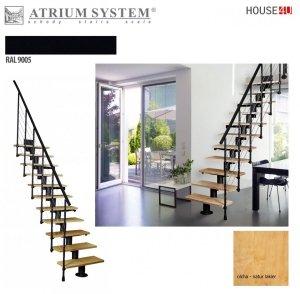 Mittelholmtreppen modular Systemtreppen ATRIUM DIXI RAL 9005 Schwarz 11 Stufen Natürliche Erle Modular Systemtreppe Mini-Treppen Geschosshöhe: 222 - 300 cm Anzahl Steigungen: 11 Stk. SCHRITTHÖHE: 18,5 - 25 cm, TREAD WIDTH: 60 cm, DES LOCHES: 70 x 130 cm