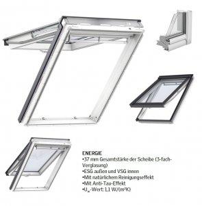 VELUX Dachfenster GPU 0068 Kunststoff Klapp-Schwingfenster 3-fach Standard-Verglasung Uw= 1,1 ENERGIE Aluminium mit Riesen-Öffnungswink<br />el