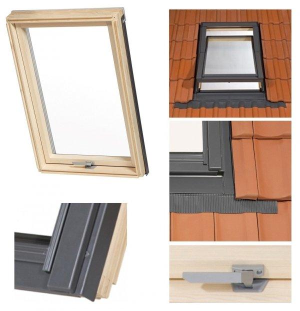 Dachfenster RoofLITE® TRIO PINE AAY 3-Fach Holz-Profile Schwingfenster Uw=1,1 Profile VKR-Gruppe (VELUX, Altaterra) Dachfenster-Set Dachschwingfenster mit Eindeckrahmen