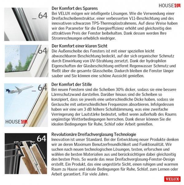 VELUX Dachfenster - - 64 3-fach-Verglasung Uw=1,0 ENERGIE Rw=35dB Schwingfenster mit Dauerlüftung ThermoTechnology STANDARD PLUS neue Generation 2021