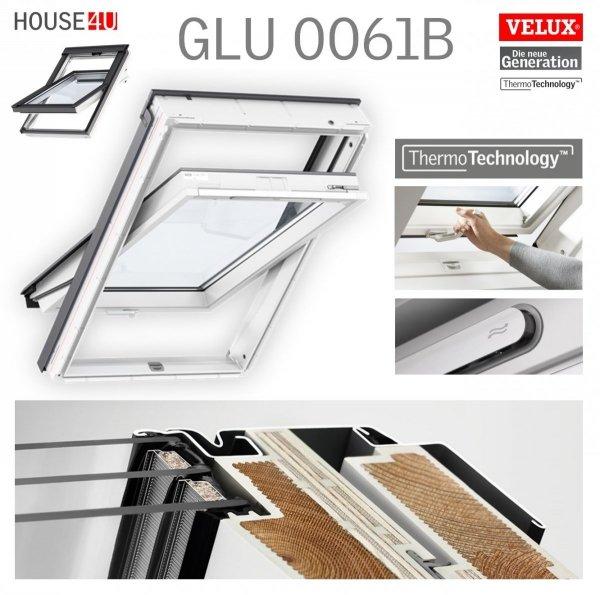VELUX Dachfenster GLU 0061 B GLU S10002 3-fach-Verglasung Uw= 1,1 Schwingfenster Kunststoffqualität Boden Griff mit Dauerlüftung ThermoTechnology VELUX Dachfenster GLU 0061 B GLU S10002 3-fach-Verglasung Uw=1,1 Schwingfenster Kunststoffqualität Boden Grif