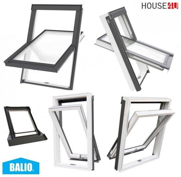 BALIO Dachfenster APB 114x112 cm Schwingfenster Kunststoff-fenster PVC Profile in Weiß, Wohndachfenster THERMO Uw= 1,4 mit 2-fach Verglasung mit Untenbedienung (Boden-Griff) RAL 7043, incl. Universal - Eindeckrahmen 0-50mm