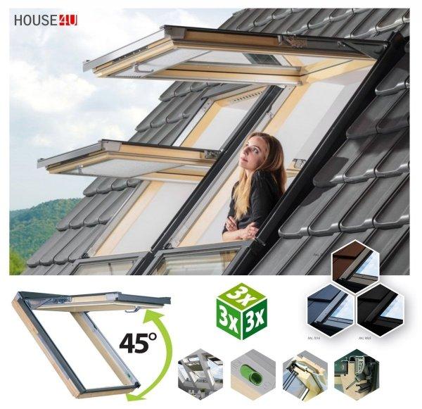 Dachfenster Fakro FPP-V U5 preSelect MAX Klapp-Schwingfenster aus Kiefernholz klar lackiert 3-fach superenergiesparend Uw=0,93 W/m²K Öffnungswinkel zwischen 0–45